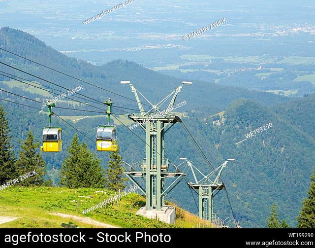 Cable car Kampenwandseilbahn. Aschau in the Chiemgau in the bavarian alps. Europe, Germany, Bavaria