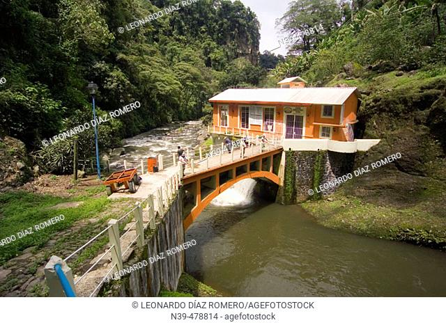 Hydroelectric power plant by Texolo waterfall, Xico. Veracruz, Mexico