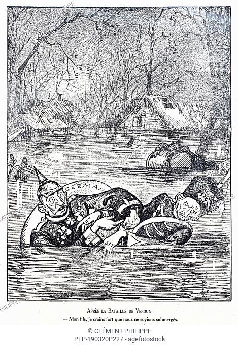 Après la Bataille de Verdun, WW1 caricature by illustrator Rata Langa showing German Prussian Crown Prince / Kronprinz Wilhelm von Preußen and Kaiser Wilhelm II...