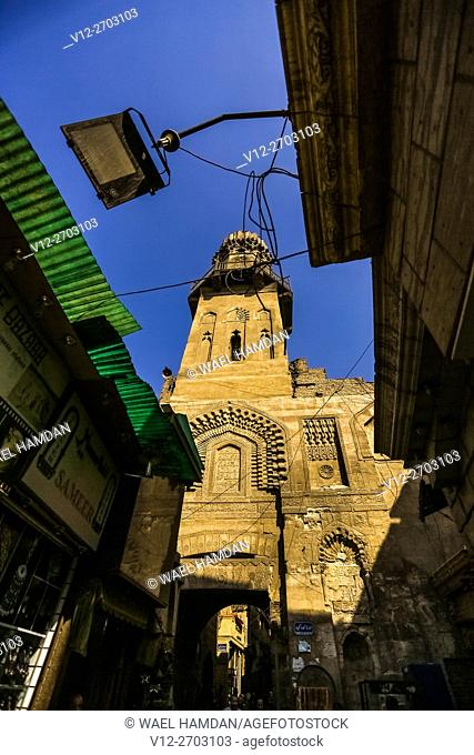 View of a street in the Khan el-Khalili souk in Cairo