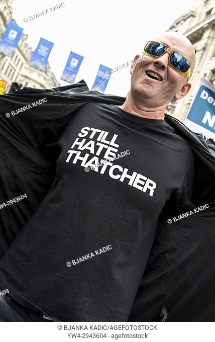 Man wearing Still Hate Thatcher t-shirt, Not One Day More - Tories Out National Demonstration, an Anti-Government and Teresa May protest organised by an...