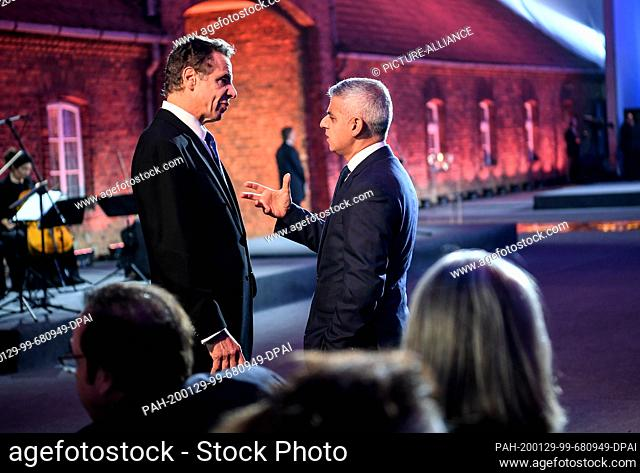 27 January 2020, Poland, Oswiecim: Andrew Cuomo (l), Governor of New York State and Sadiq Khan, Mayor of London, attend the commemoration of the 75th...