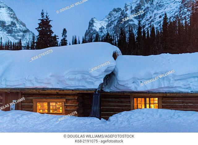 The Elizabeth Parker Hut at Lake O'Hara, Yoho National Park, British Columbia, Canada is an old historic cabin