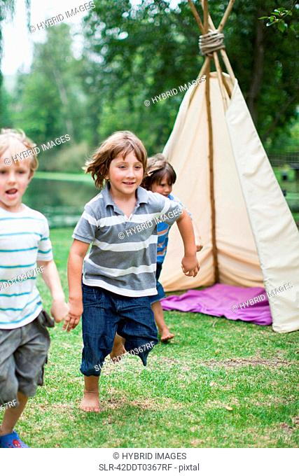Boys playing together outdoors