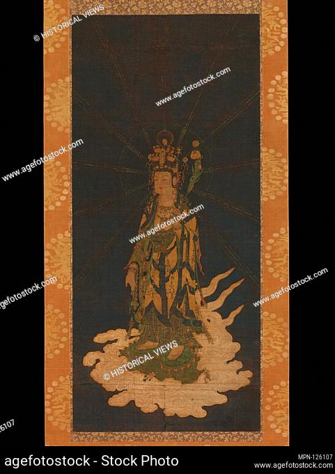 Period: Kamakura period (1185-1333); Date: 14th century; Culture: Japan; Medium: Hanging scroll; ink, color, gold, and cut-out gold on silk; Dimensions: Image:...