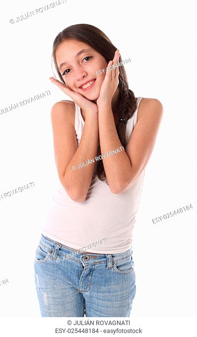 Lovely young girl with her hands near the head. Isolated on white background