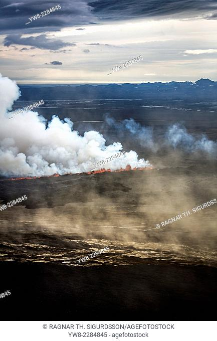 Volcano Eruption at the Holuhraun Fissure near Bardarbunga Volcano, Iceland. On August 29, 2014, a fissure eruption occurred in Holuhraun at the northern end of...