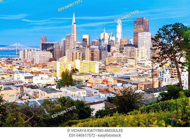 San Francisco downtown skyline Aerial view at sunset from Ina Coolbrith Park Hill in San Francisco, California, USA