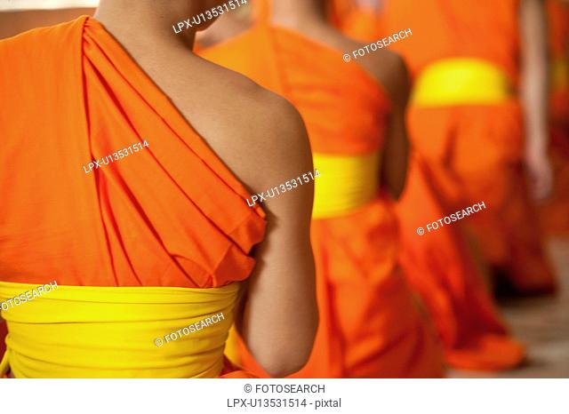Novice monks praying at Wat Sri Soda, Chiang Mai, Thailand