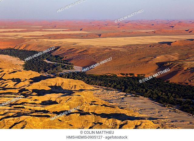 Namibia, Erongo and Hardap Regions, the Kuiseb River Valley, Namib Naukluft National Park, Namib Desert, surroundings of Homeb, sand dunes (aerial view)