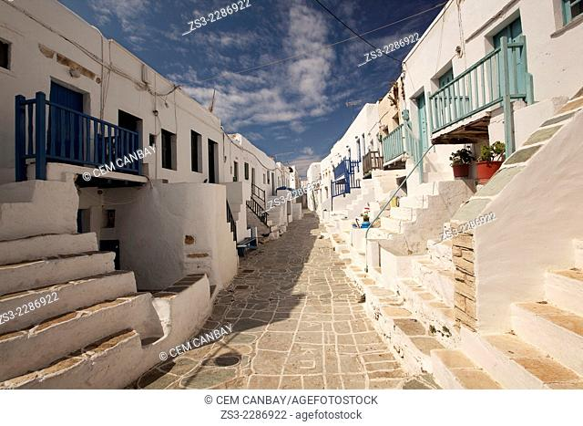 Street with old Cyclades houses in town center Kastro, Folegandros Cyclades Islands, Greek Islands, Greece, Europe