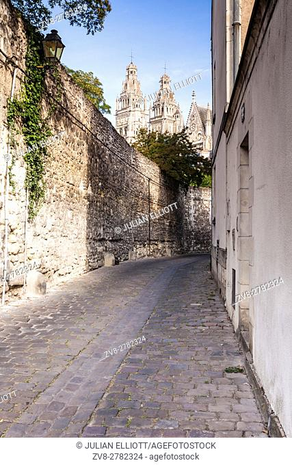 Looking down in a small backstreet in the city of Tours, France. The cathedral of Saint Gatien is in the background. The city itself is within the confines of...