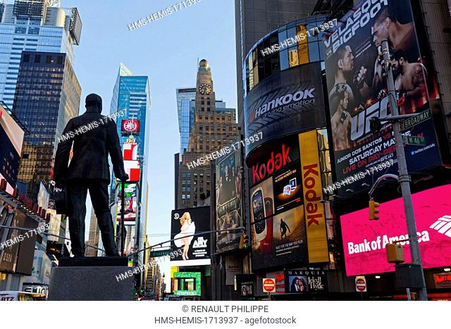 United States, New York, Manhattan, Midtown, Times Square, billboards and statue of George M. Cohan