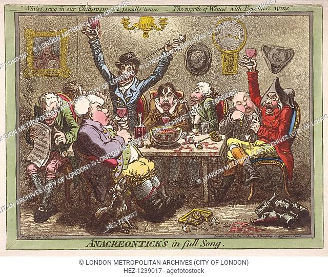 'Anacreontick's in full Song', 1801. A scene of drunkenness and excess; the man in the foreground smoking a pipe has extremely swollen legs, a result of gout