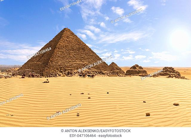 The Pyramid of Menkaure and the pyramid companions, Giza, Egypt