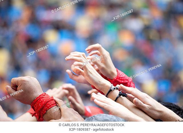 'Tarragona, Spain, october 6 and 7 2012  Contest XXIV Castellers human towers  The castellers are UNESCO World Heritage '