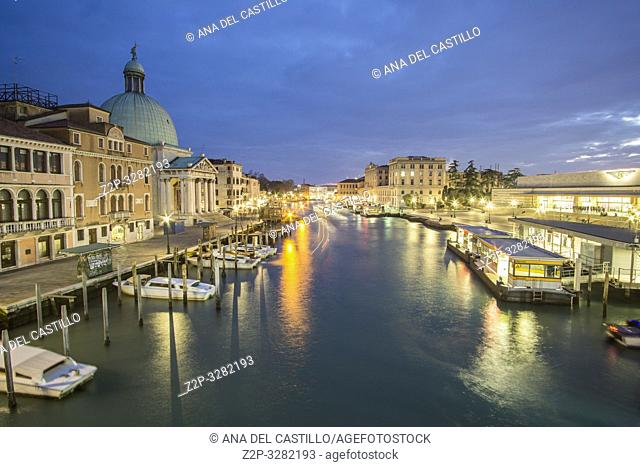 Venice Veneto Italy on January 20, 2019: Twilight in Grand Canal