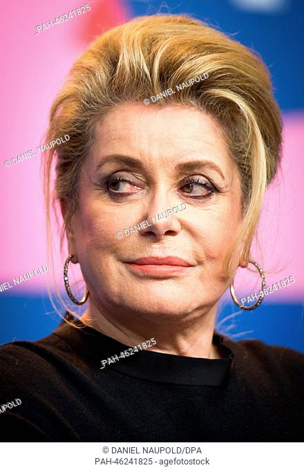 French actress Catherine Deneuve attends the press conference for 'In the courtyard' (original title: Dans la cour) at the 64th annual Berlin Film Festival in...