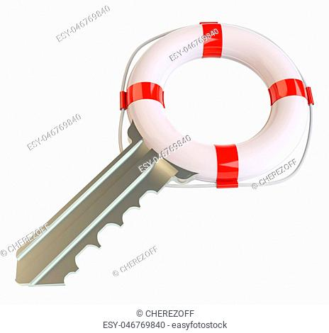 Key with lifebuoy. Concept of salvation
