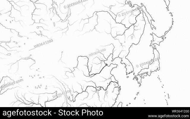 World Map of FAR EAST REGION: Japan, Korea, China, Manchuria, Siberia, Yakutia, Mongolia, Buryatia, Dzungaria, Huang-He and Yangtze River