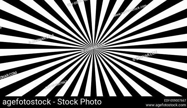 Abstract black and white sun rays - Vector illustration