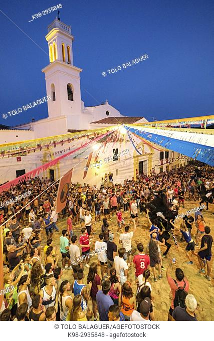 Jaleo, traditional dance with horses, originally from the 14th century, fiestas de Sant Bartomeu, Ferreries, Minorca, Balearic Islands, Spain
