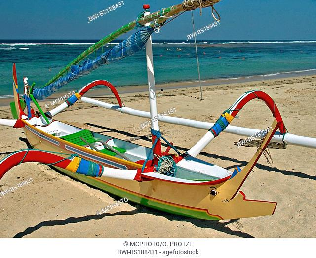 Colorful Balinese Fisher Boats at Nusa Dua Beach in Bali, Indonesia