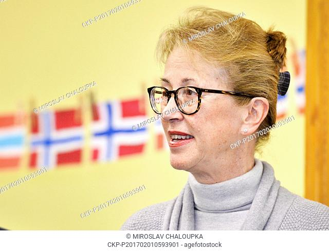 The Norwegian Ambassador to the Czech Republic Siri Ellen Sletner gets the lunch in the school canteen during her visit to 15th elementary school in Pilsen