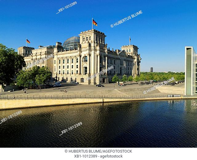 The Reichstag at the river Spree, Building of Parliament, Berlin, Germany