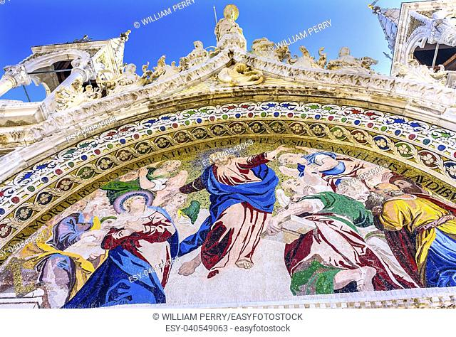 Christ Last Judgement Mosaic Saint Mark's Basilica Venice Italy. Church created 1063 AD to House Saint Mark's body