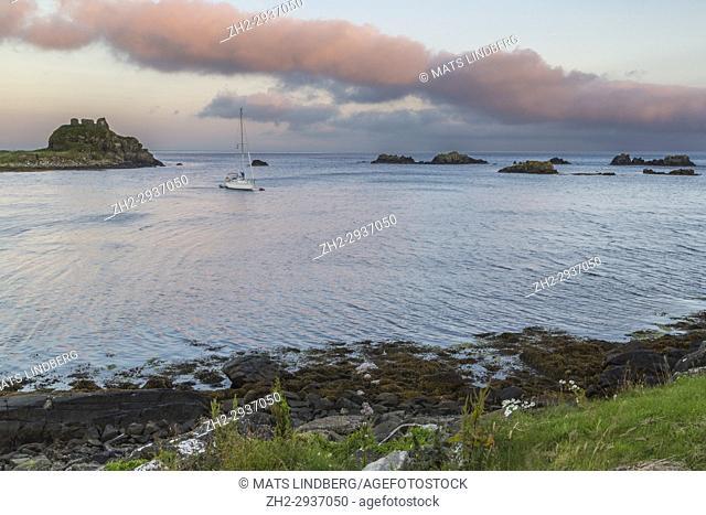 Sailing boat has droped anchor outside Islay, Scotland
