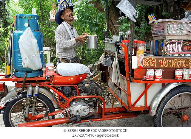 Bar caffe in a motorcycle. Preparing coffee and drinks. Ko Kret (also Koh Kred) is an island in the Chao Phraya River, 20 km north of Bangkok, Thailand
