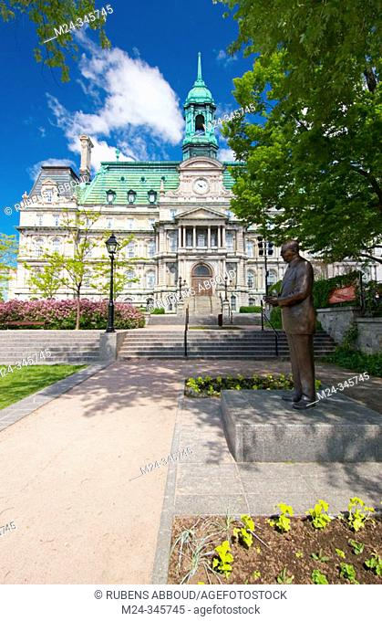 Montreal City Hall (Hotel de Ville) near Place Jacques Cartier in Old Montreal (Vieux Montreal). The statue of Jean Drapeau, ex-mayor of Montreal