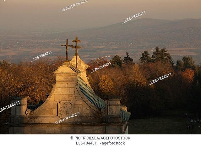 The gate of the Benedictine Monastery of the Holy Cross on Lysa Gora mountain in the Swietokrzyskie Mountains  Poland