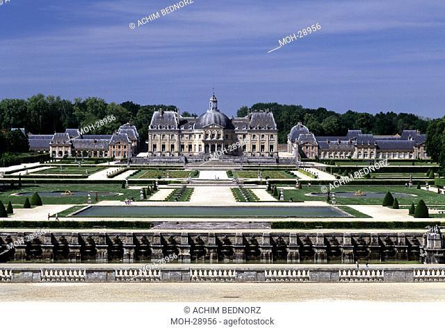 Vaux-le-Vicomte, Schloßpark/ Gartenfassade mit Parterres, 1653-60