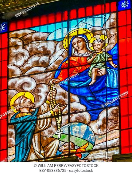 Virgin Mary Baby Jesus Saint Domingo Stained Glass Santo Domingo Church Mexico City Mexico. Church first built in the 1500s
