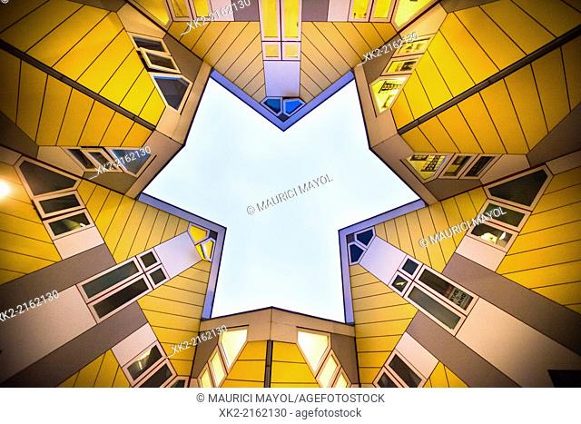 Cube Houses view from below by architect Pieter Blom, Rotterdam, Nederlands