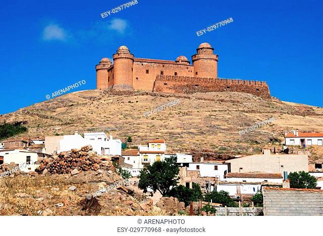 View of the castle (Castillo de La Calahorra) above the white town, La Calahorra, Granada Province, Costa Almeria, Andalusia, Spain, Western Europe