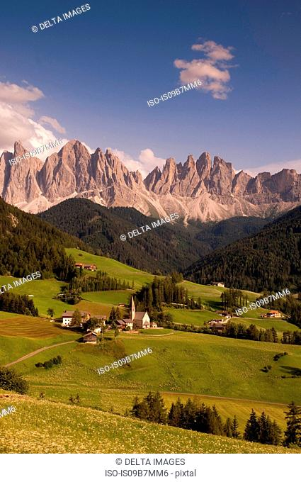 Landscape with Santa Maddalena and mountains, Funes Valley, Dolomites, Italy