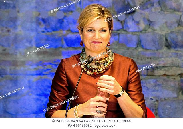 Queen Maxima of The Netherlands attends the Financial Inclusion: The Next Move Forward conference at America Square Conference Centre on January 19