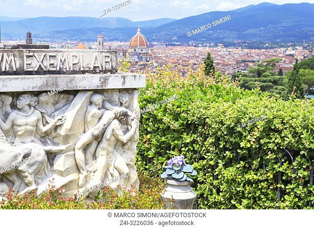 San Miniato cemetery and view over the town, Florence, Tuscany, Italy, Europe