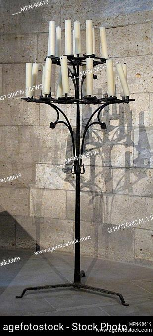 Candelabra. Date: 15th century; Culture: European; Medium: Iron; Dimensions: Overall: 65 1/2 x 27 1/2 in. (166.4 x 69.9 cm); Classification: Metalwork-Iron;...