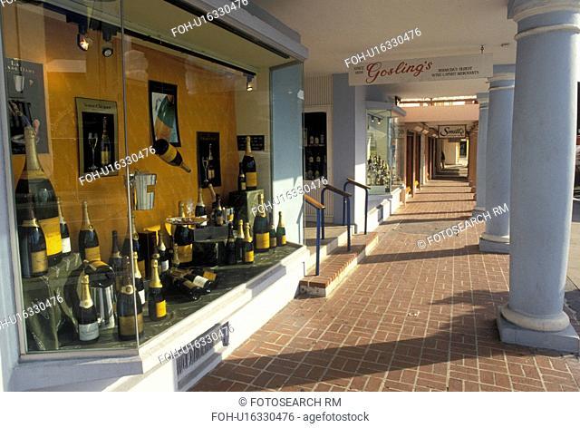Bermuda, Hamilton, Wine & Spirit Shop along Front Street in the town of Hamilton in Bermuda.