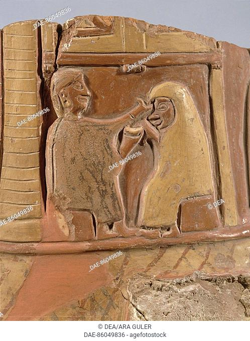 Civilization 'Hittite, II millennium BC Fragment of painted pottery with mystical wedding ceremony, from Bitik.  Ankara, Anadolu Medeniyetler Muzesi...