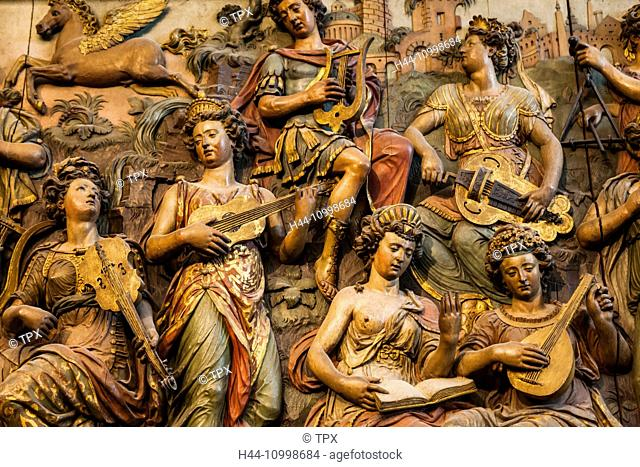 England, London, Kensington, Victoria and Albert Museum aka V&A, Carved Oak Panel depicting Apollo and the Muses dated 1580