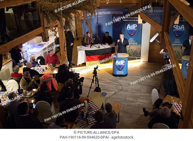 16 January 2019, Saxony, Dohma: Andre Poggenburg, the former regional chairman of the AfD in Saxonia-Anhalt, speaks with the New Year receipt of its new party...