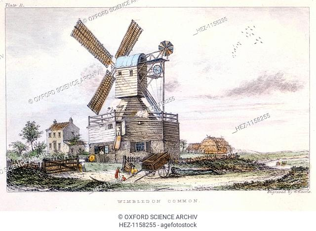 Post mill, Wimbledon Common, near London, c1840. This mill has a fantail and a gallery giving access to the sails and external mechanism