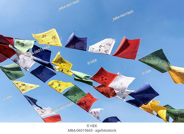 in the wind blowing, coloured, Nepalese prayer flags in front of blue sky