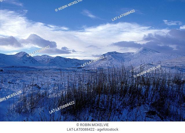 High flat place. Hills,lake. Light snow. Blue light on snow. Low cloud