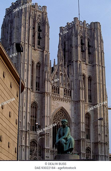 Brabantine Gothic style, St Michael and St Gudula Cathedral, Brussels. Detail. Belgium